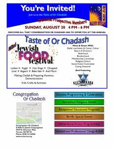 A Taste of Or Chadash with a Mini Jewish Food Festival @ Congregation Or Chadash | Tucson | Arizona | United States