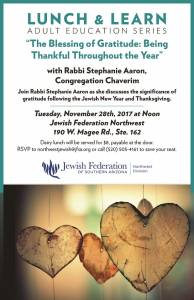 "Lunch & Learn with Rabbi Stephanie Aaron ""The Blessing of Gratitude: Being Thankful Throughout the Year"" @ Jewish Federation Northwest 