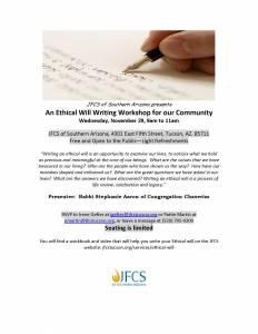 Ethical Will Workshop @ JFCS of Southern Arizona   Tucson   Arizona   United States