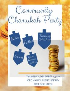 Chabad Oro Valley Giant Menorah Lighting @ Oro Valley Public Library | Tucson | Arizona | United States