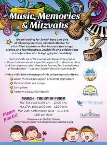 Music, Memories & Mitzvahs – Purim @ Chofetz Chayim | Tucson | Arizona | United States