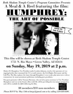 """HUMPHREY: The Art of Possible"" @ Beth Shalom Temple Center"