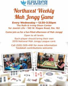Northwest Weekly Mah Jongg Game @ The Ruth & Irving Olson Center for Jewish Life